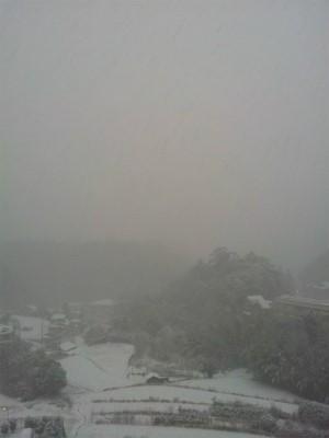 降りしきる雪の風景